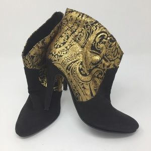 Black and gold paisley stiletto booties Super sexy